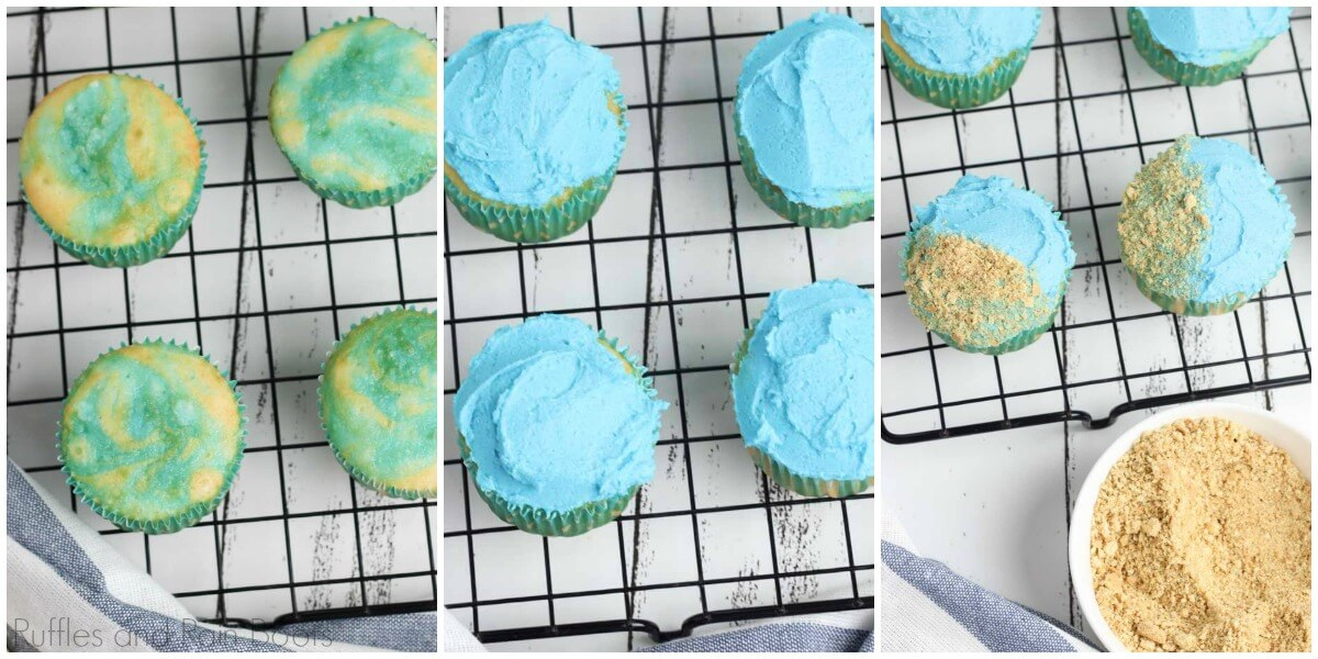 photo tutorial of how to make beach cupcakes by adding blue frosting and graham crackers to beach cupcakes