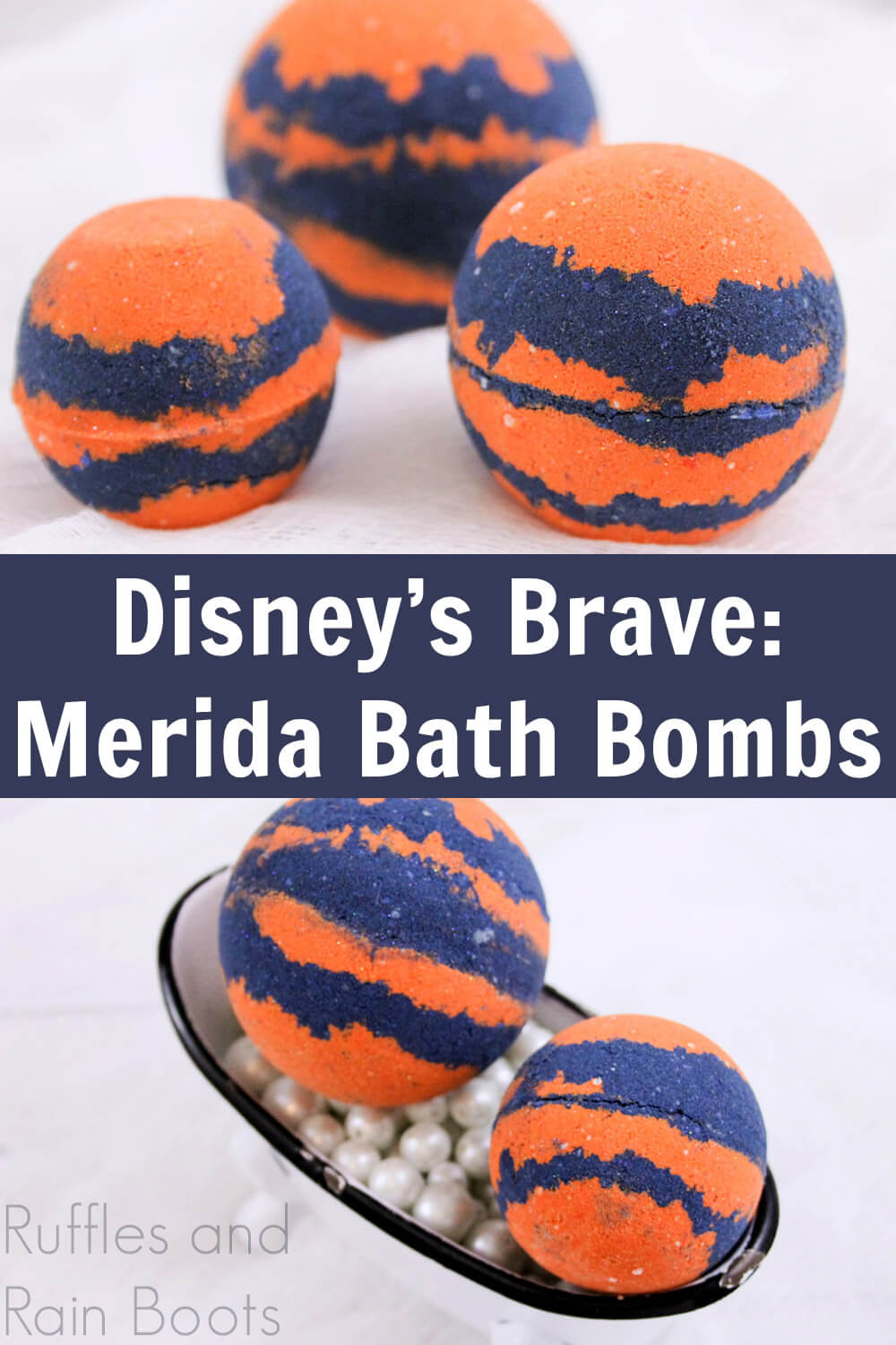 close up of orange and blue bath fizzies on white background with text which reads Disneys Brave Merida Bath Bombs