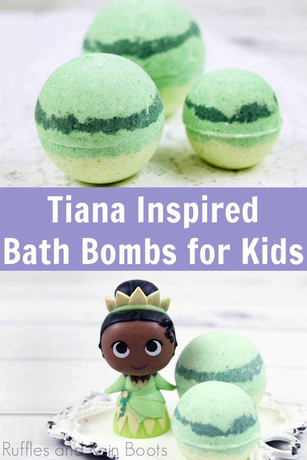 close up images of green and yellow bath fizzies on white background with text Tiana inspired bath bombs for kids