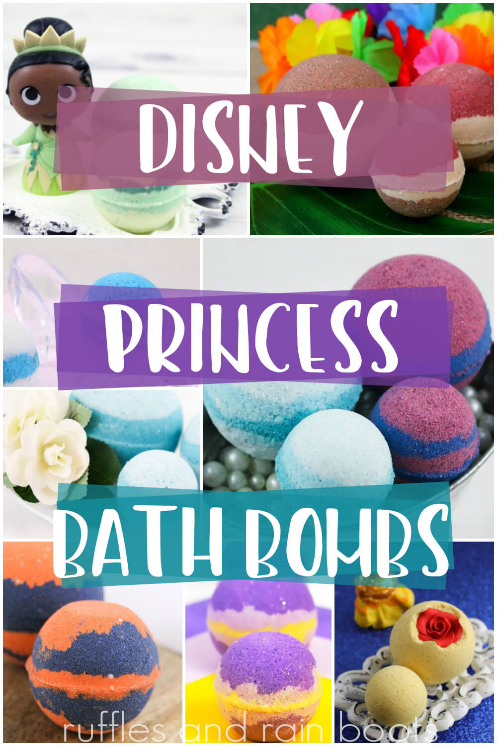 photo collage of bath fizzy collection with text which reads disney princess bath bombs