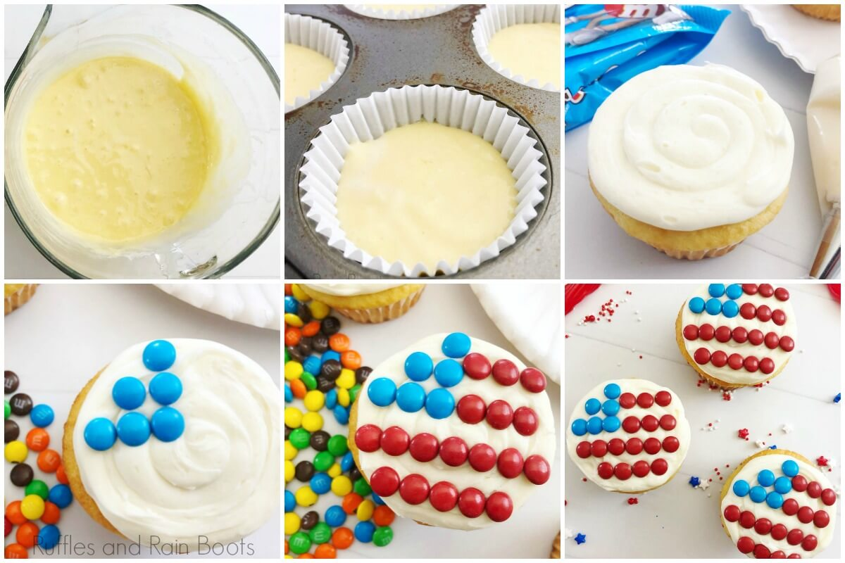 photo tutorial of how to make flag cupcakes for 4th of july independence day