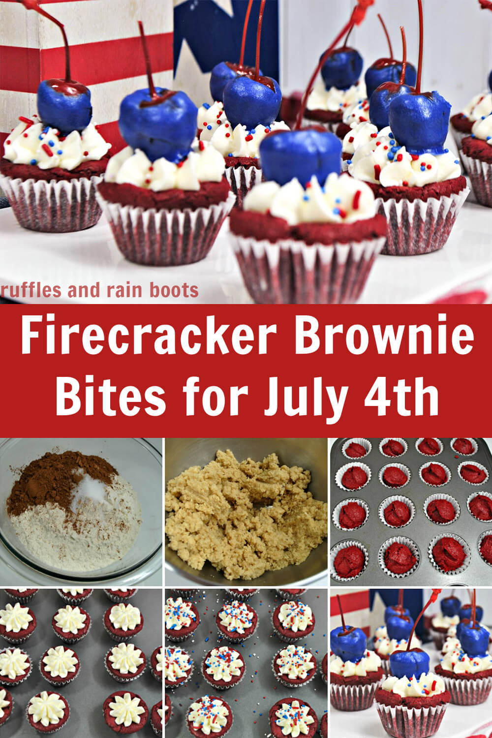 photo collage of red white and blue cupcakes and tutorial of how to make these patriotic cupcakes with text which reads firecracker brownie bites for july 4th