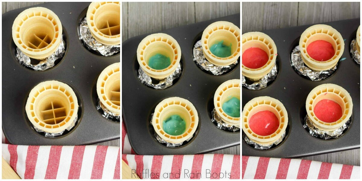 photo tutorial of how to prepare cones and add batter to july 4th cupcakes