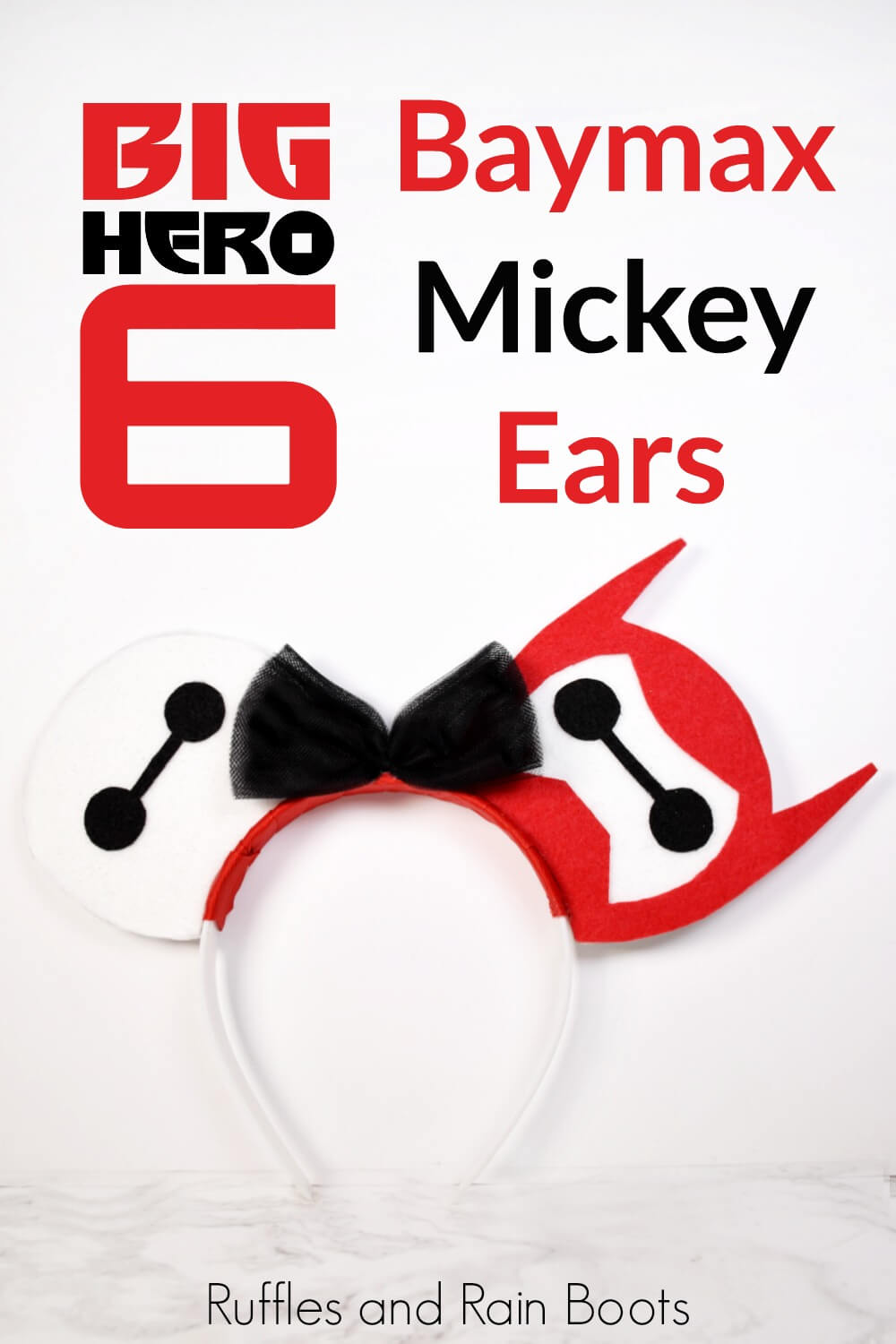 DIY mouse ears standing up on white background with text which reads Baymax Mickey Ears from Big Hero 6