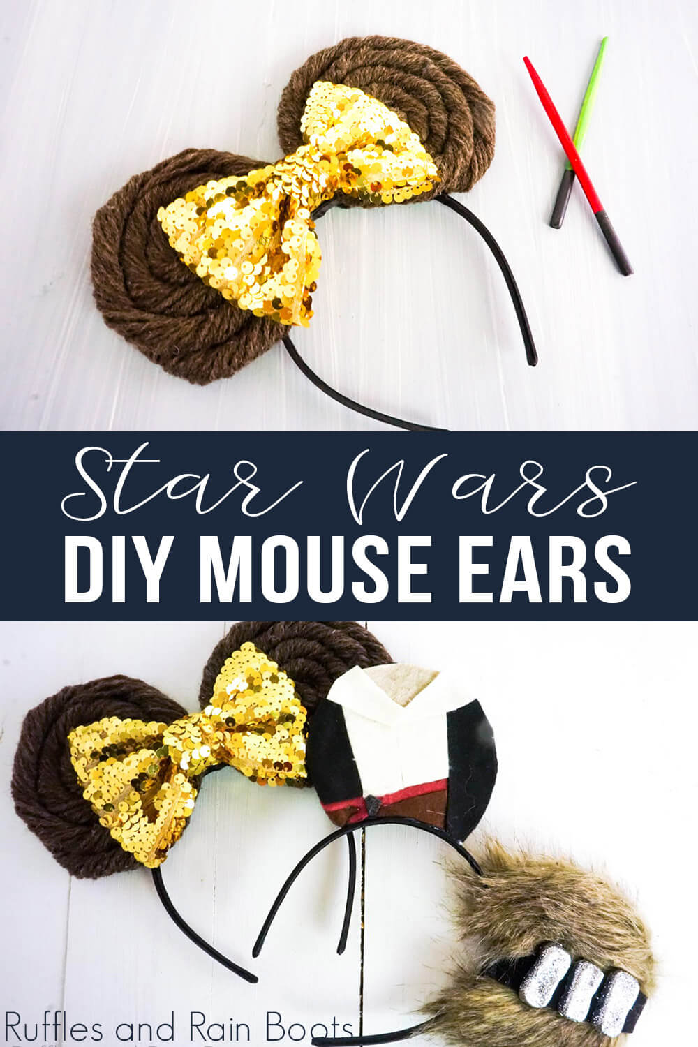 photo collage of star wars mickey ears for kids with text which reads star wars diy mouse ears