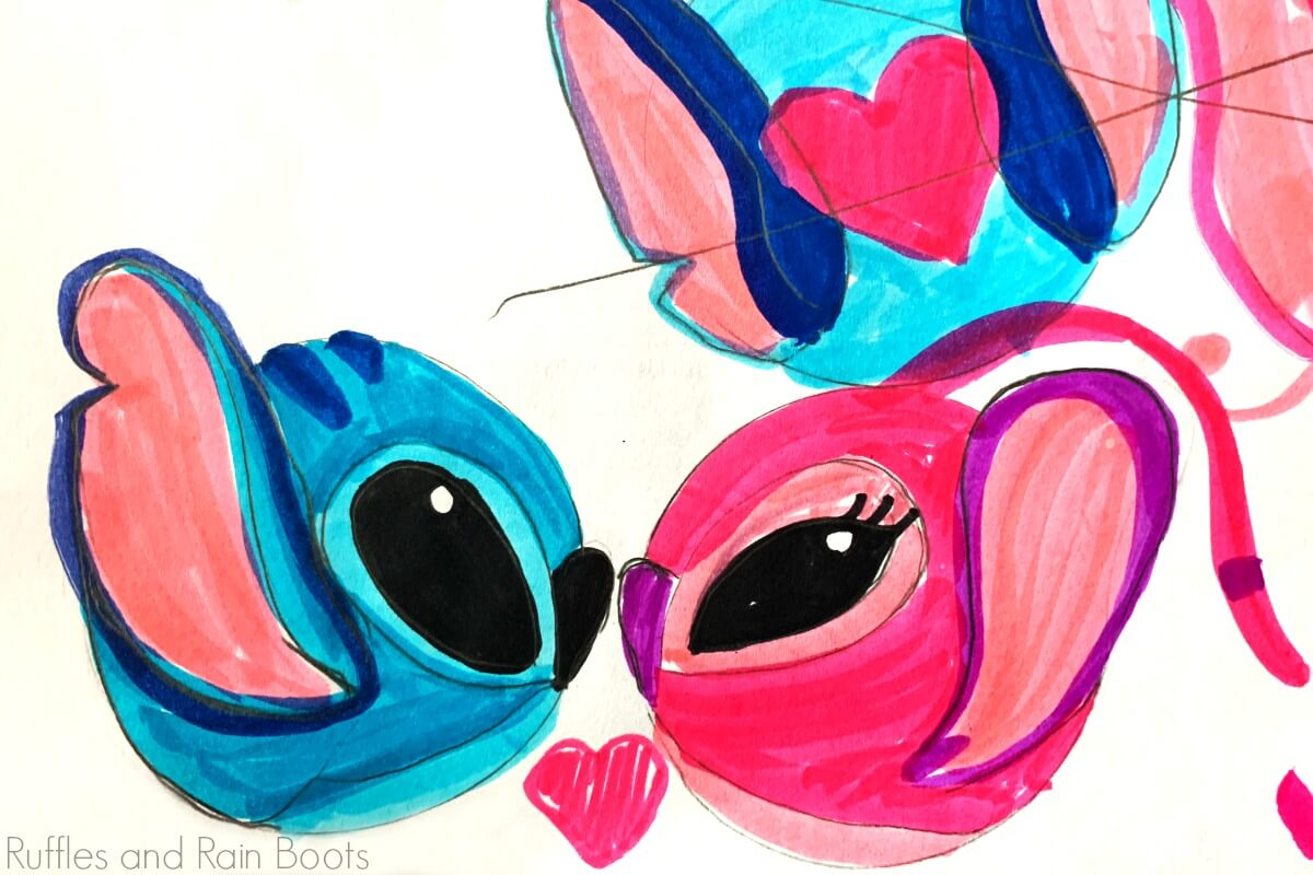 hand drawn sketch of Stitch Mickey Mouse ears for Disney