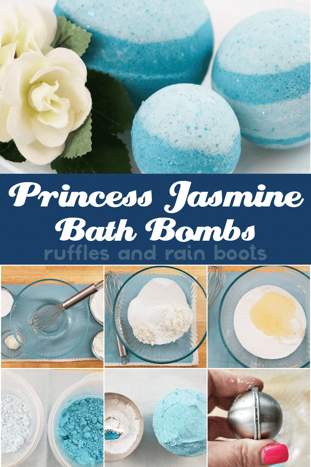 photo collage of princess jasmine bath bomb recipe with text which reads princess jasmine bath bombs