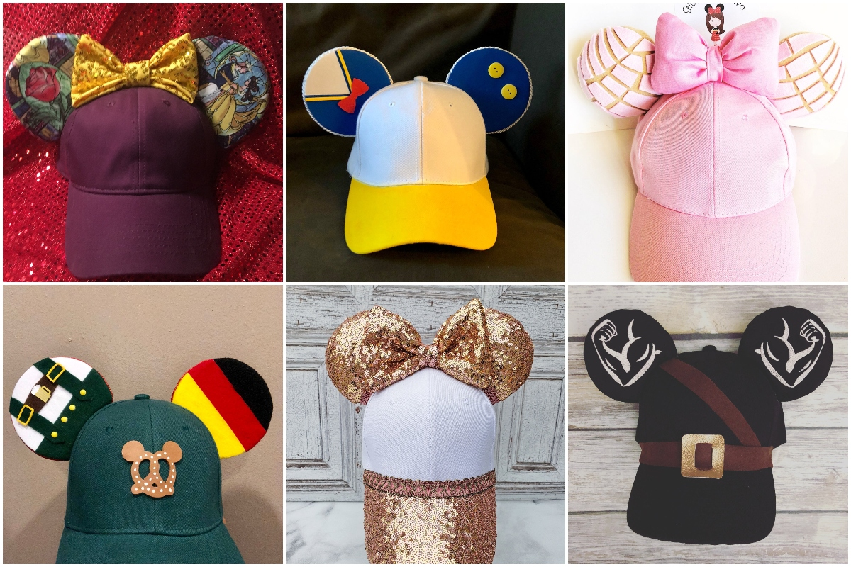 photo collage of cute mouse ear caps for disney