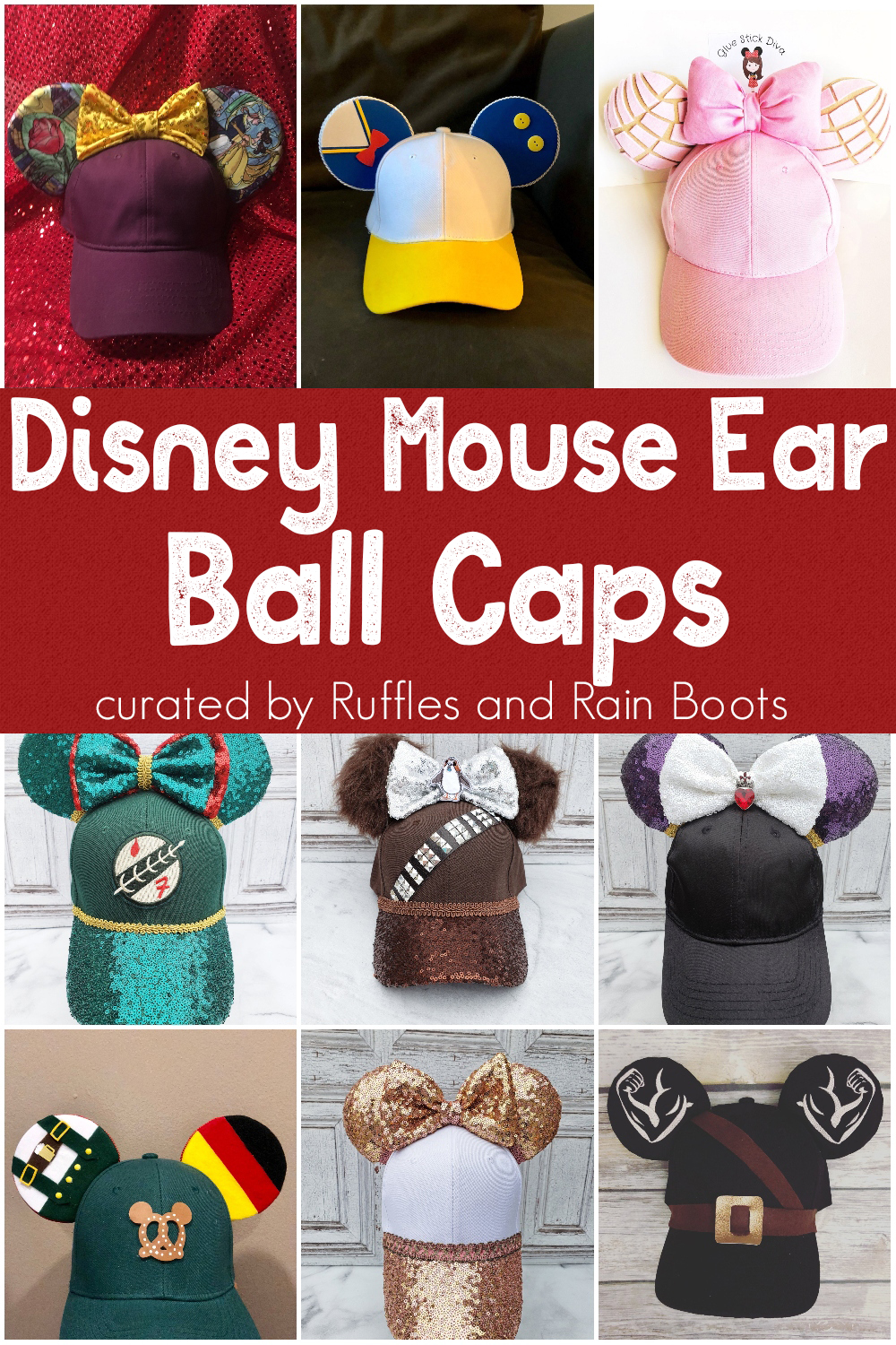 photo collage of ball caps made with mickey mouse ears with text which reads disney mouse ear ball caps