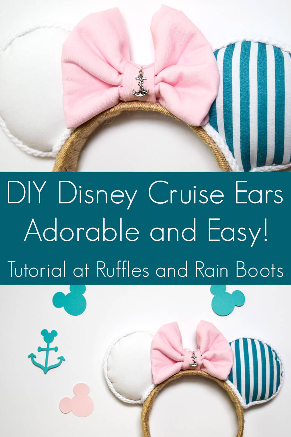 photo collage of nautical Minnie Mouse ear headband on white background with text which reads DIY Disney Mickey cruise ears adorable and easy