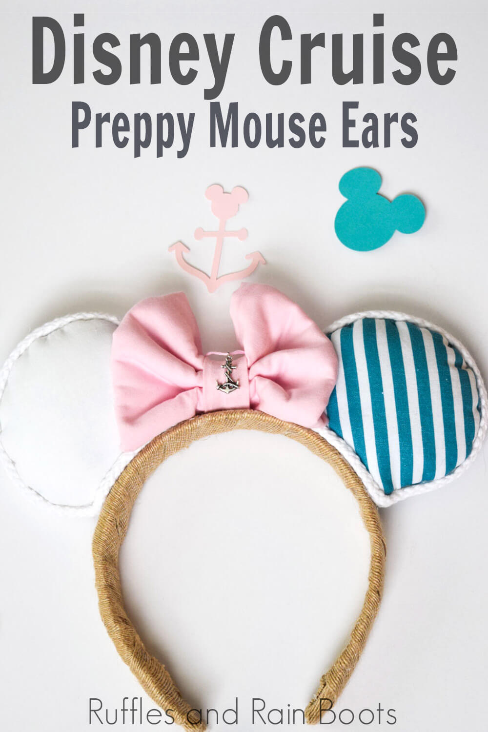 pink teal and white nautical Minnie ears on white background with text which reads Disney Cruise Preppy Mickey Mouse ears