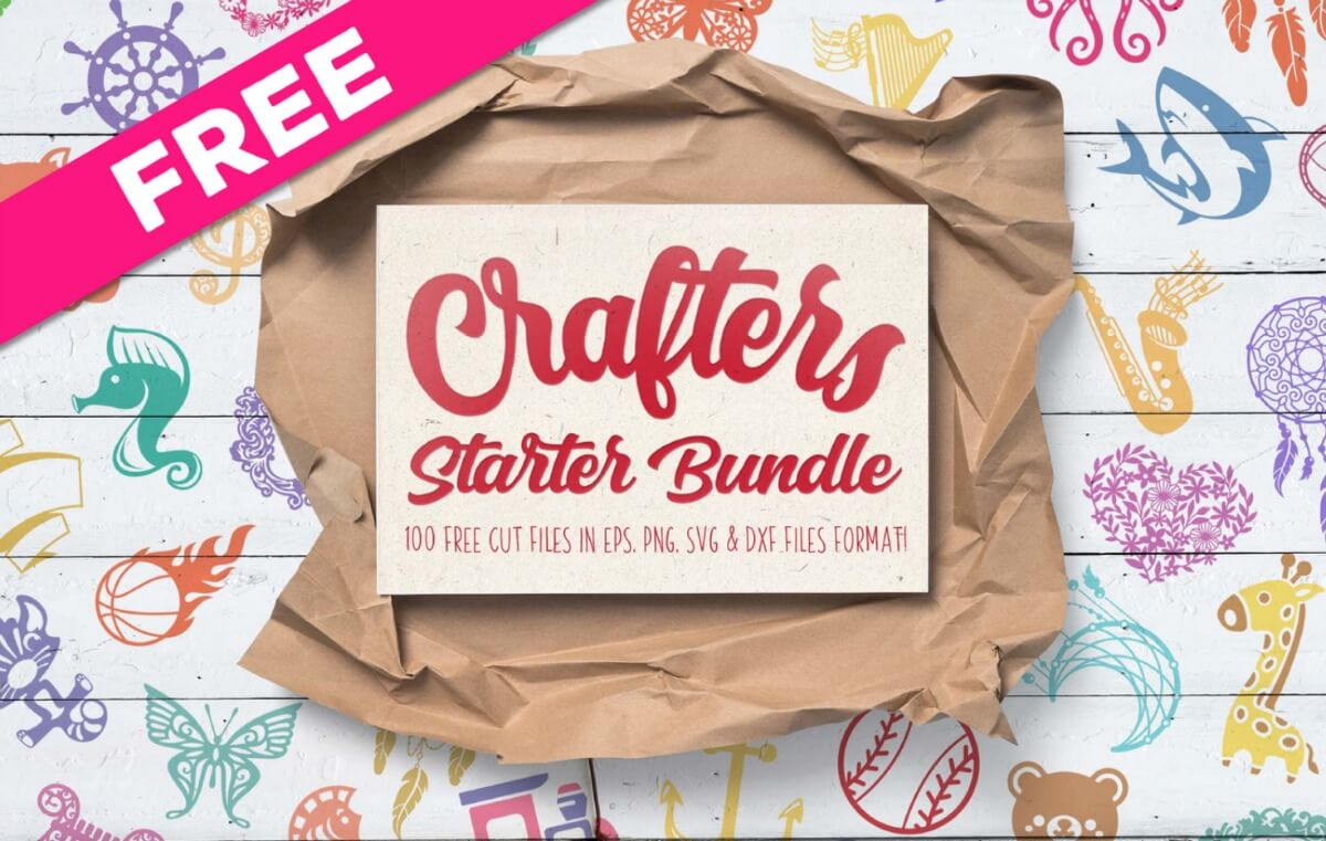 free svg files for crafting with text which reads crafters starter bundle