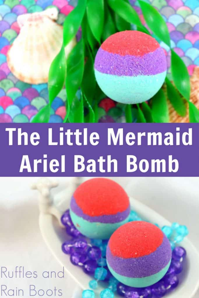 photo collage of red purple and teal bath bomsb with text which reads the little mermaid ariel bath bomb