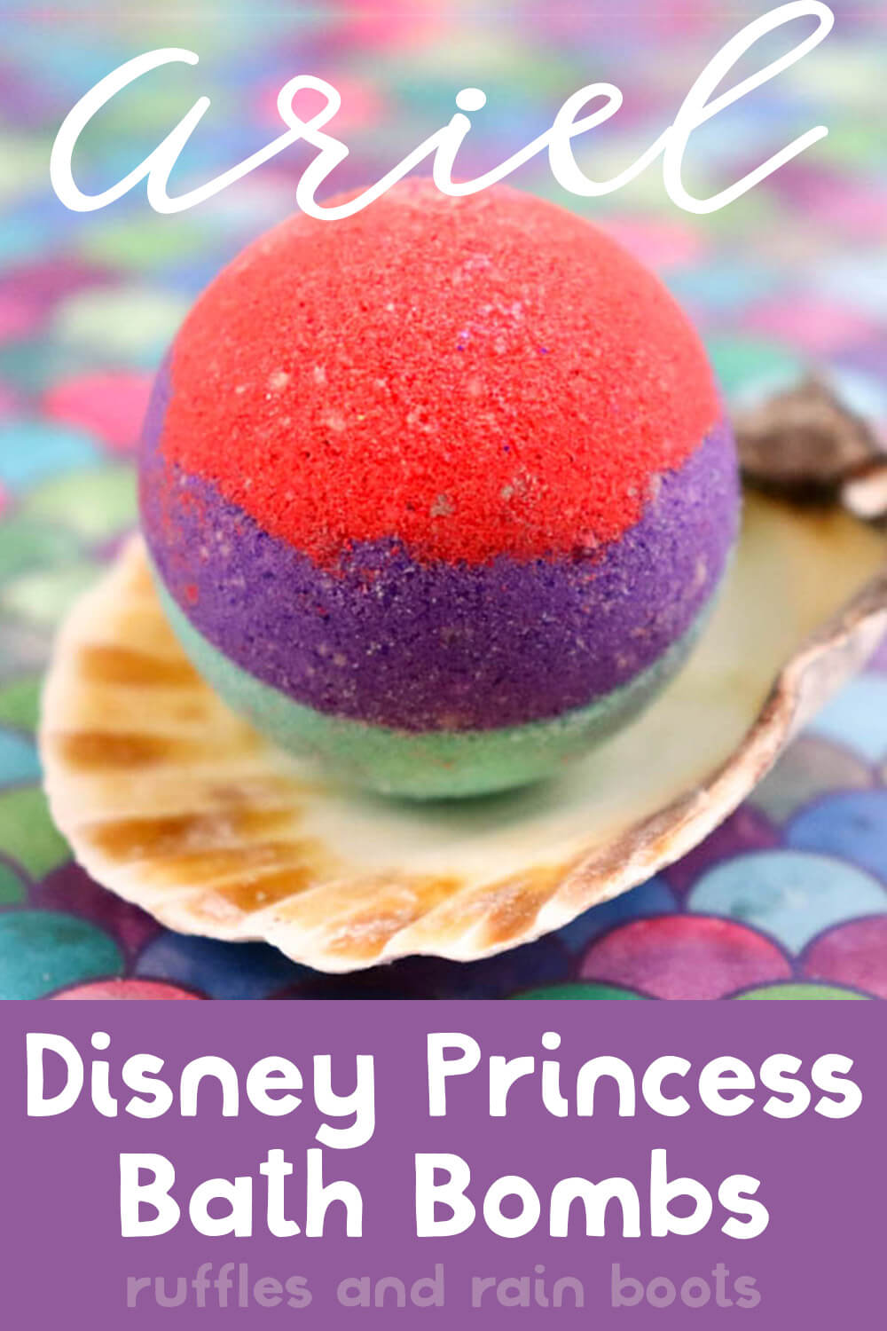 single red purple and teal ariel bath fizzies from the little mermaid with text which reads ariel disney princess bath bombs
