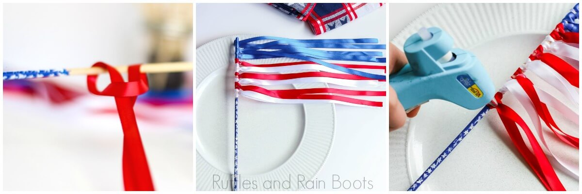 photo tutorial of how to make ribbon flag wands how to tie ribbons onto the dowel and secure
