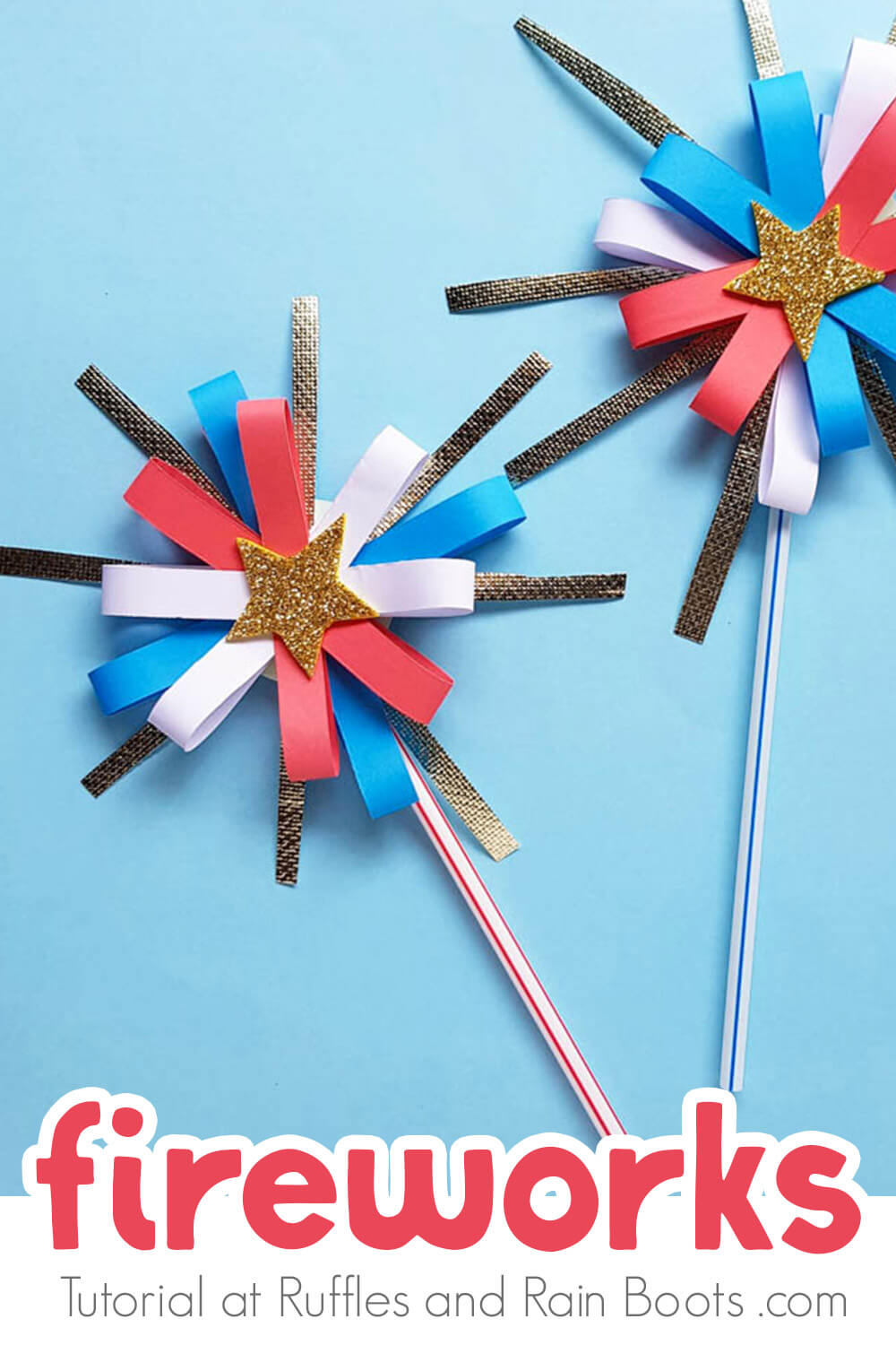 two paper fireworks craft for July 4th on a blue background with text which reads fireworks