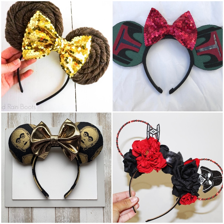 photo collage of how to make star wars mickey ears