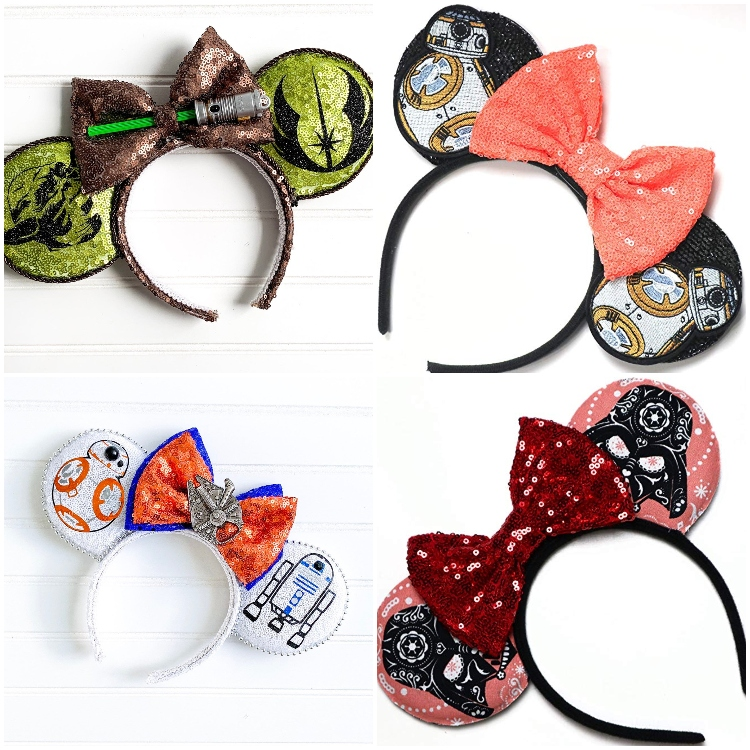 photo collage of star wars inspired mickey mouse ears