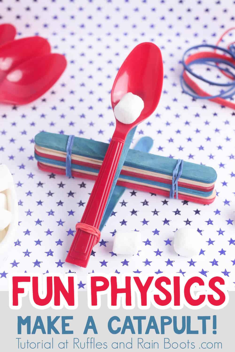 how do I make a catapult catapult project for kids on a blue and white polka dot background with text which reads fun physics make a catapult!