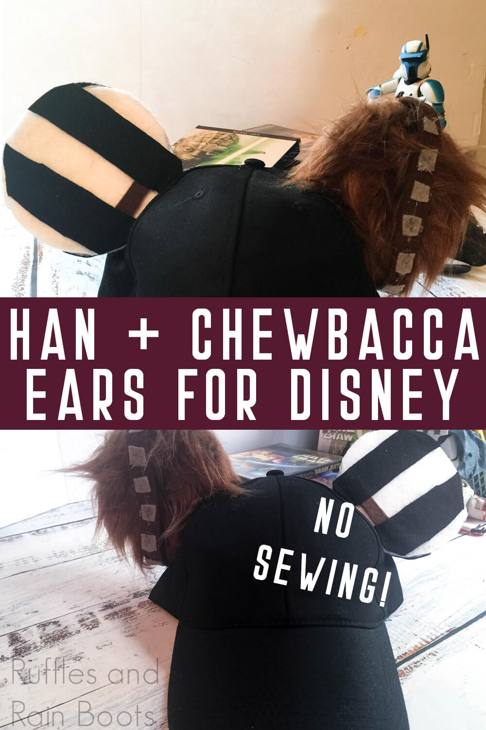 photo collage of han solo and chewbacca star wars mickey ears hat with text which reads han & chewbacca ears for disney no sewing