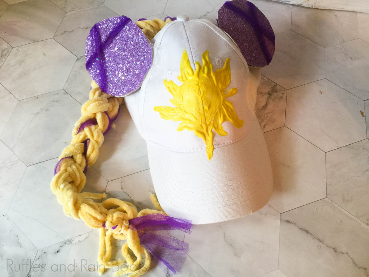 completed rapunzel minnie ears hat on a white background