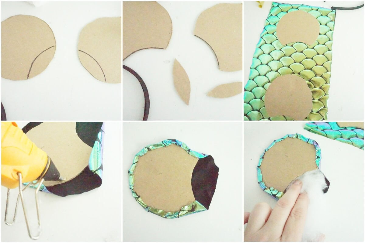 photo tutorial of how to make loki mickey ears with chameleon colors