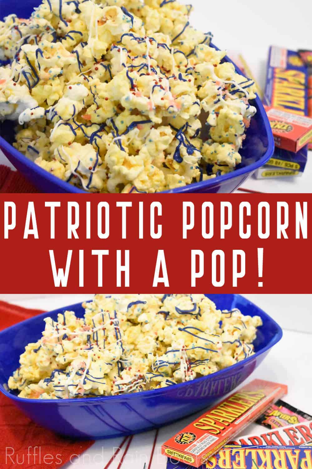 close up of red white and blue popcorn with firecrackers on a white BBQ picnic table