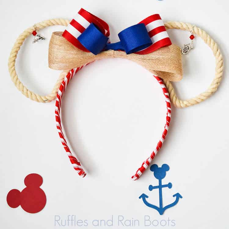 Disney Rope Cruise Ears on white background with nautical and Minnie ear paper cutouts