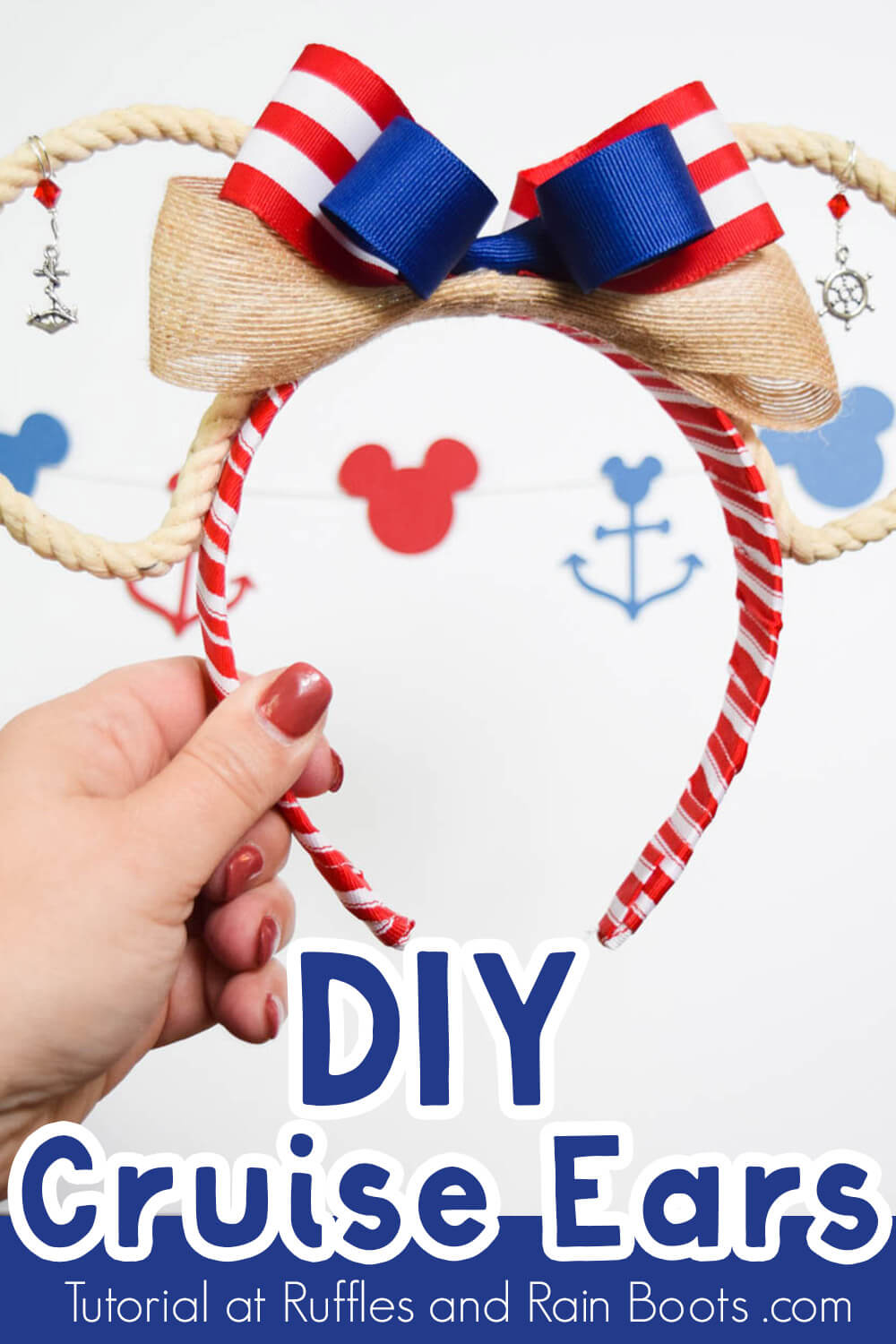 red white and blue rope Disney cruise ears on white background with cruise SVG cut outs