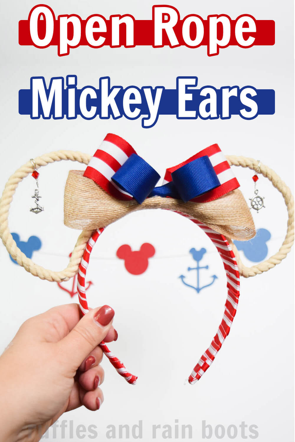hand holding red white and blue rope Mickey ears for a cruise or a resort vacation with text which reads Open Rope Mickey Ears