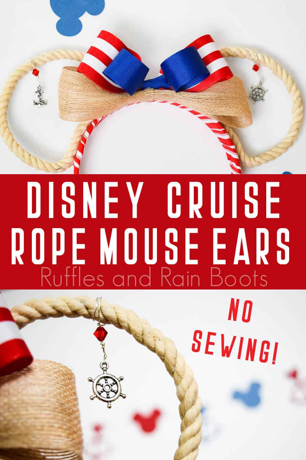 collage of adorable open rope MIckey ears with text which reads no sewing Disney Cruise Rope Mouse Ears