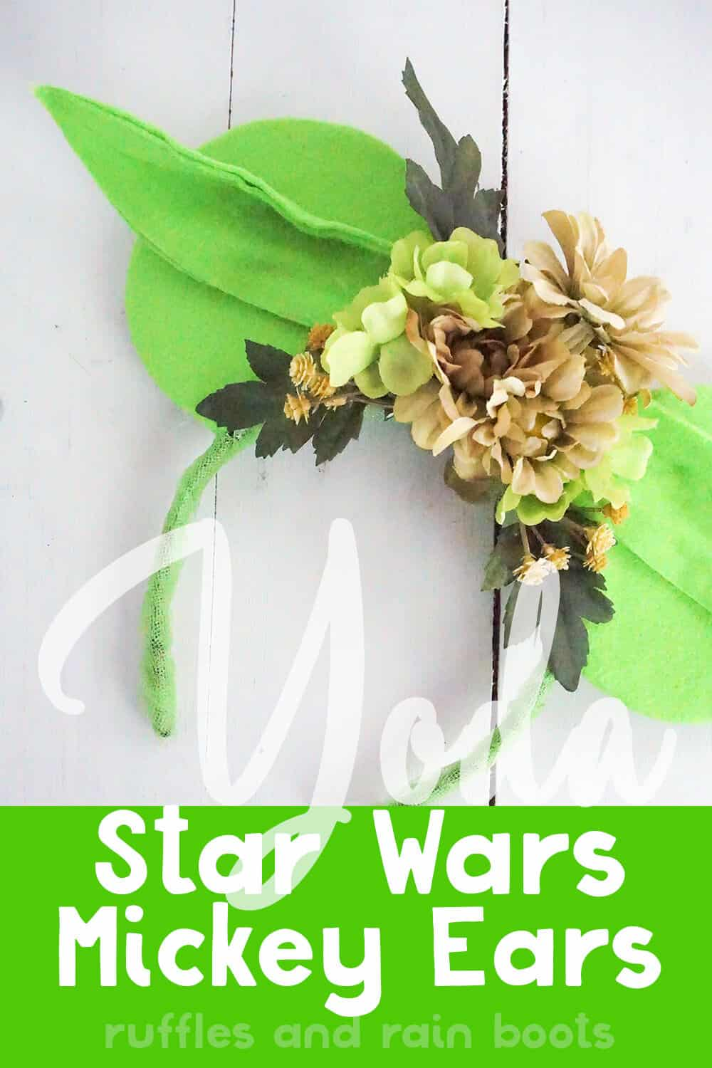 how to make yoda ears for disney on a white wood background with text which reads yoda star wars mickey ears
