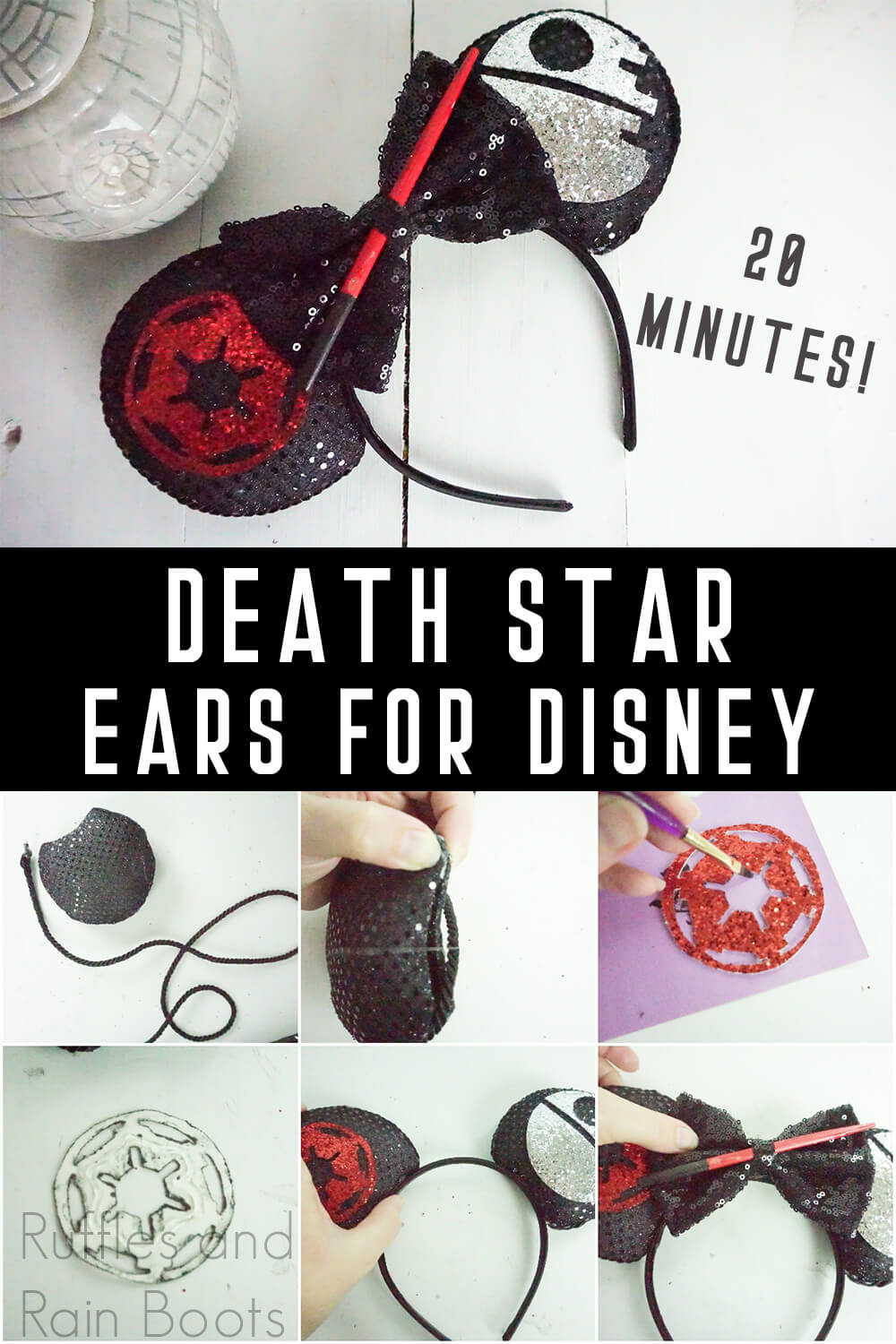 photo collage of death star mickey ears for star wars galaxy's edge with text which reads 2- minutes! death star ears for disney