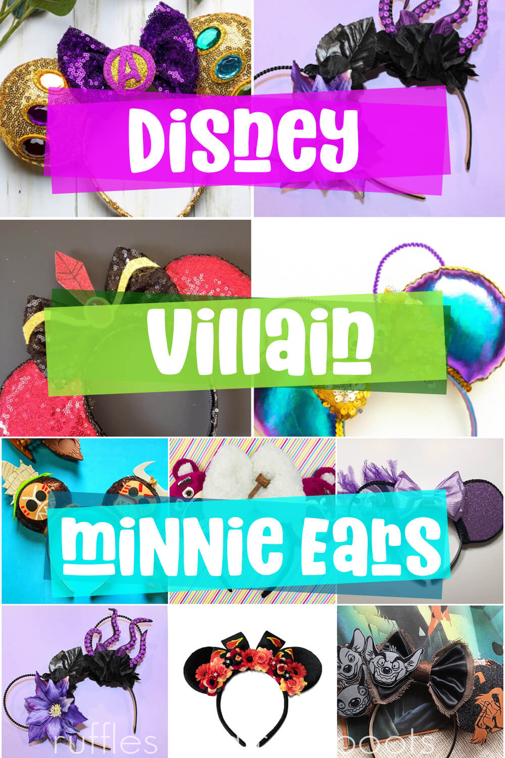 photo collage of how do you make disney villain mickey ears with text which reads disney villain minnie ears