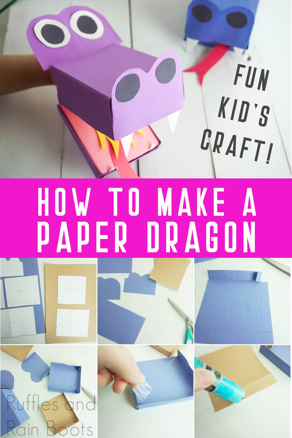 photo collage of purple and blue simple puppet dragons with text which reads how to make a paper dragon fun kid's craft