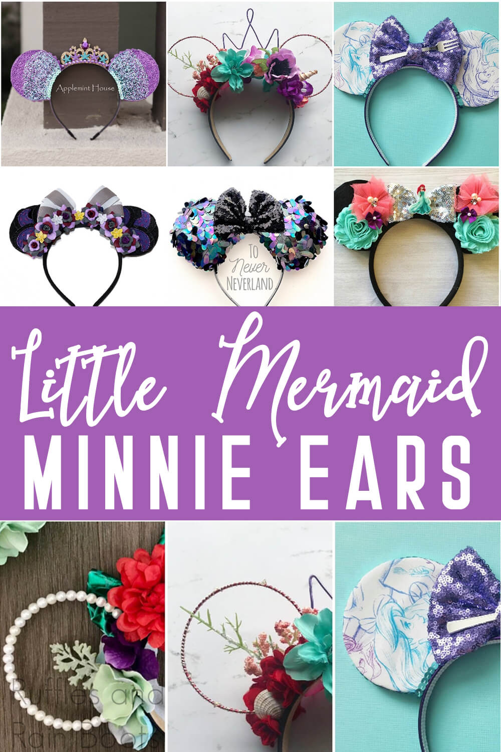 photo collage of various little mermaid mickey ears for disney with text which reads little mermaid minnie ears
