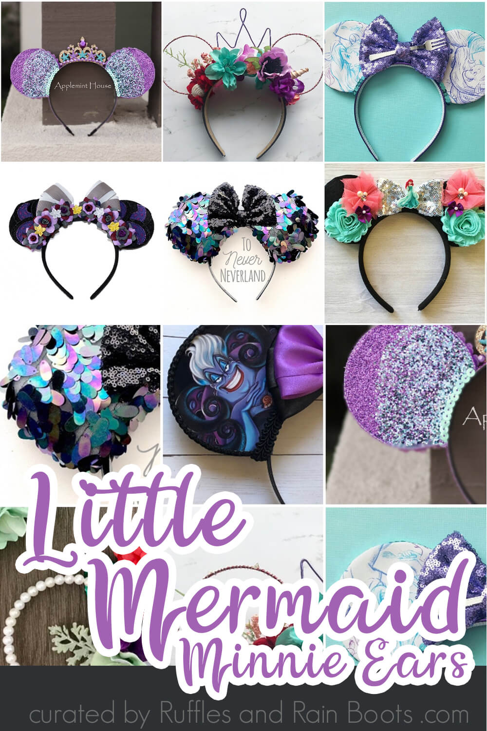 photo collage of examples of where to find littler mermaid minnie ears for disney with text which reads littler mermaid minnie ears