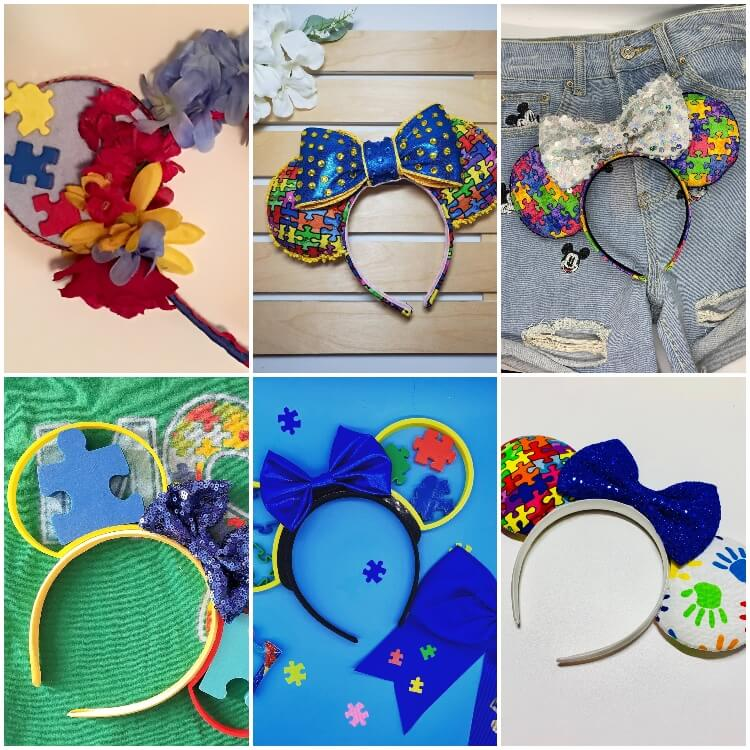 photo collage of autistic Minnie mouse ears for disney