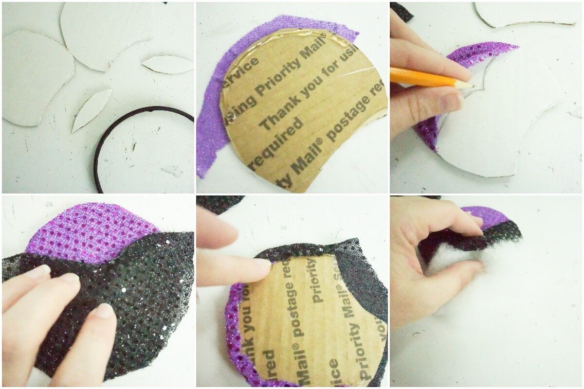 photo collage of how to make puffy ursula mickey ears