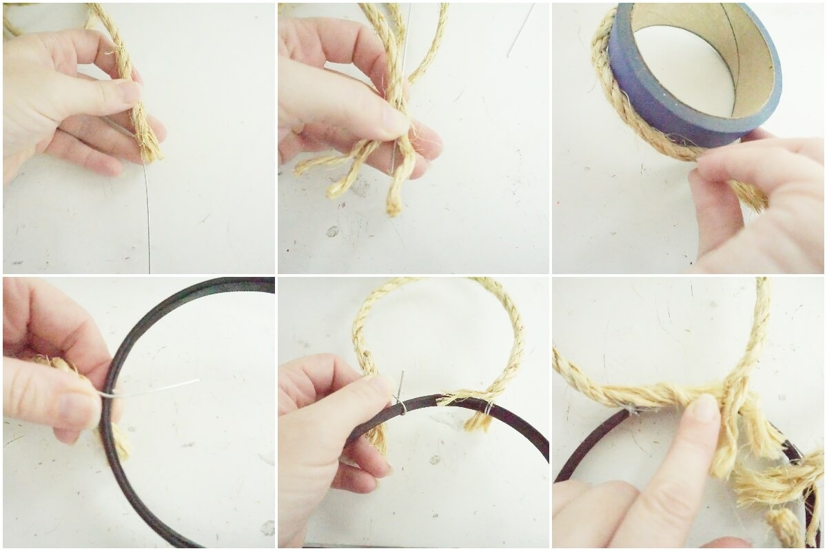 photo tutorial of how to make moana mickey ears with rope