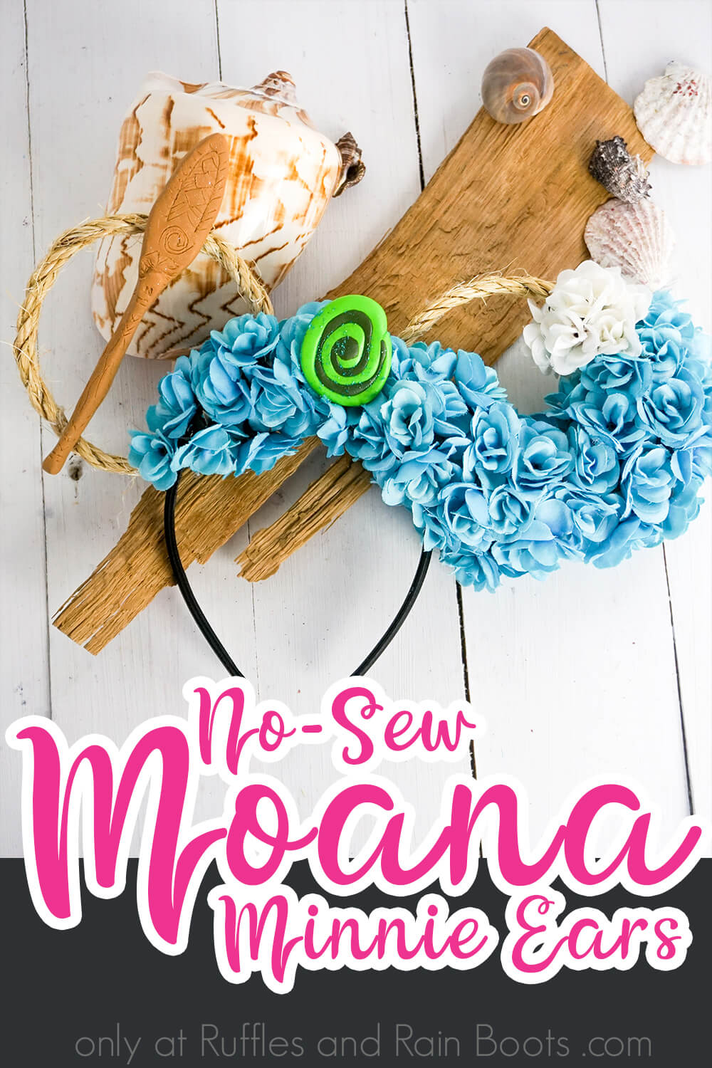 disney princess moana mickey ears on a white wood background with drift wood and shells with text which reads no-sew moana minnie ears