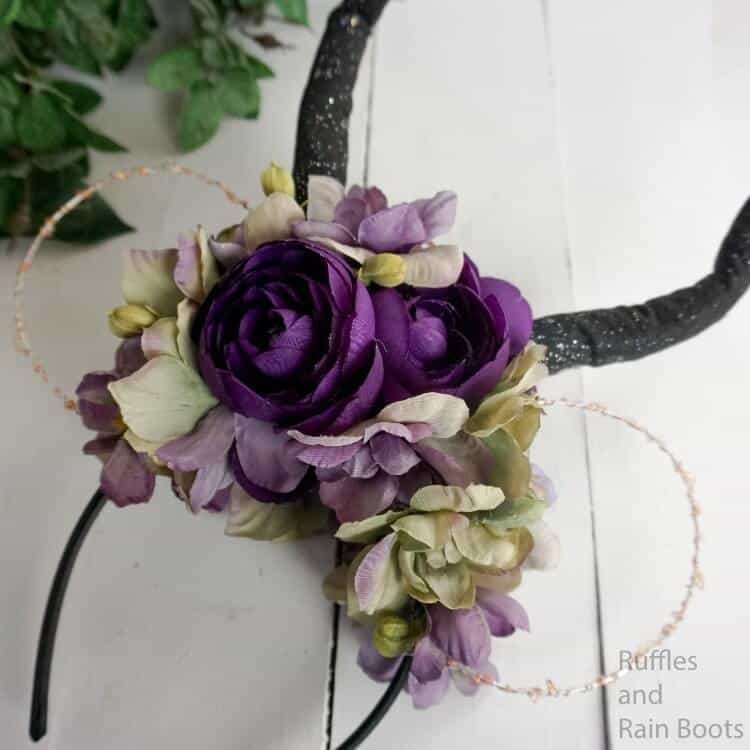 diy lightup floral mickey ears for maleficent on a white wood background