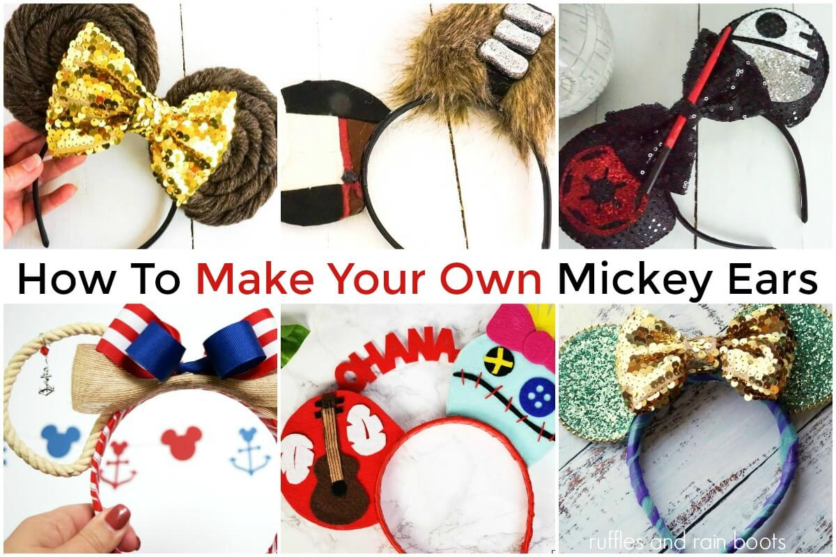 collage of DIY Mickey ears for Disney including star wars characters disney princesses and more