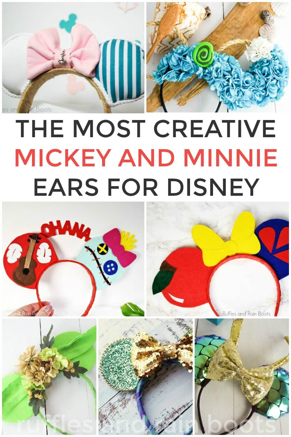 a huge collection of DIY mickey ear tutorial in a collage with text which reads the most creative mickey and minnie ears for disney