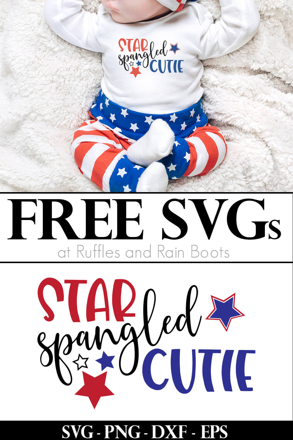 baby in white onesie on blanket with star spangled cutie patriotic svg for cricut on the bottom image with text which reads free svgs