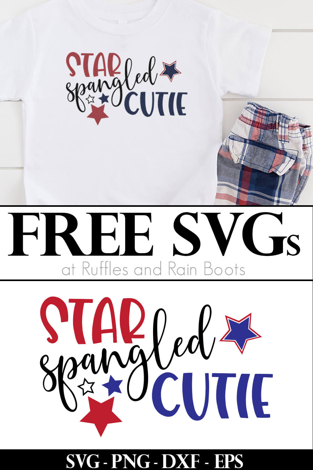 collage of t shirt with red white and blue design on white wood and free cut file on white background with text which reads free svgs for cricut and silhouette