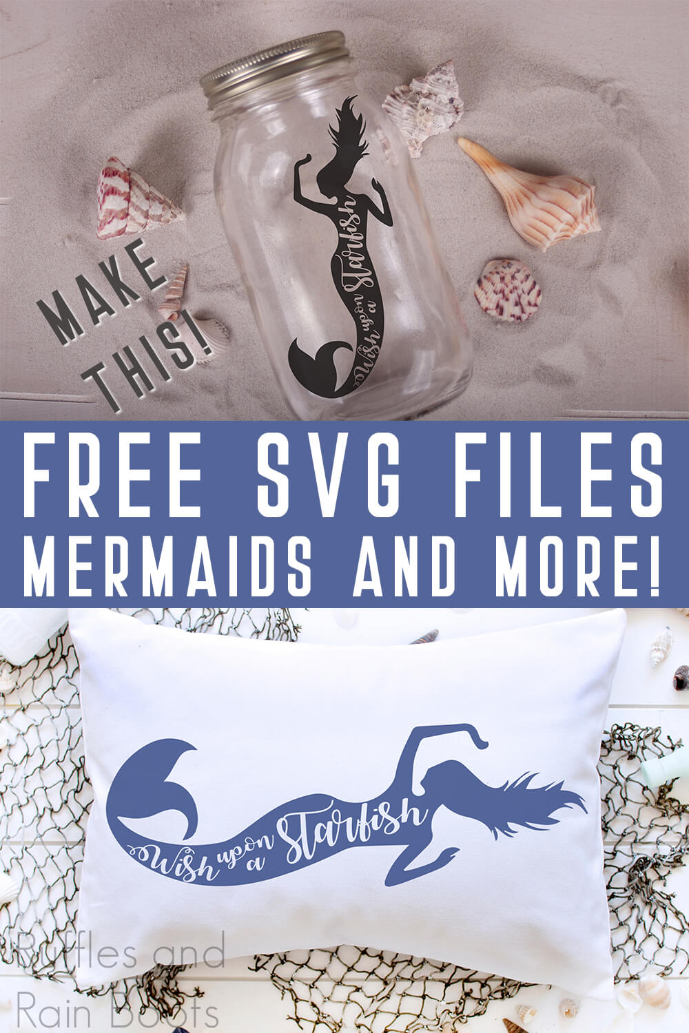 photo collage of mermaid cut files for cricut with text which reads make this! free svg files mermaids and more