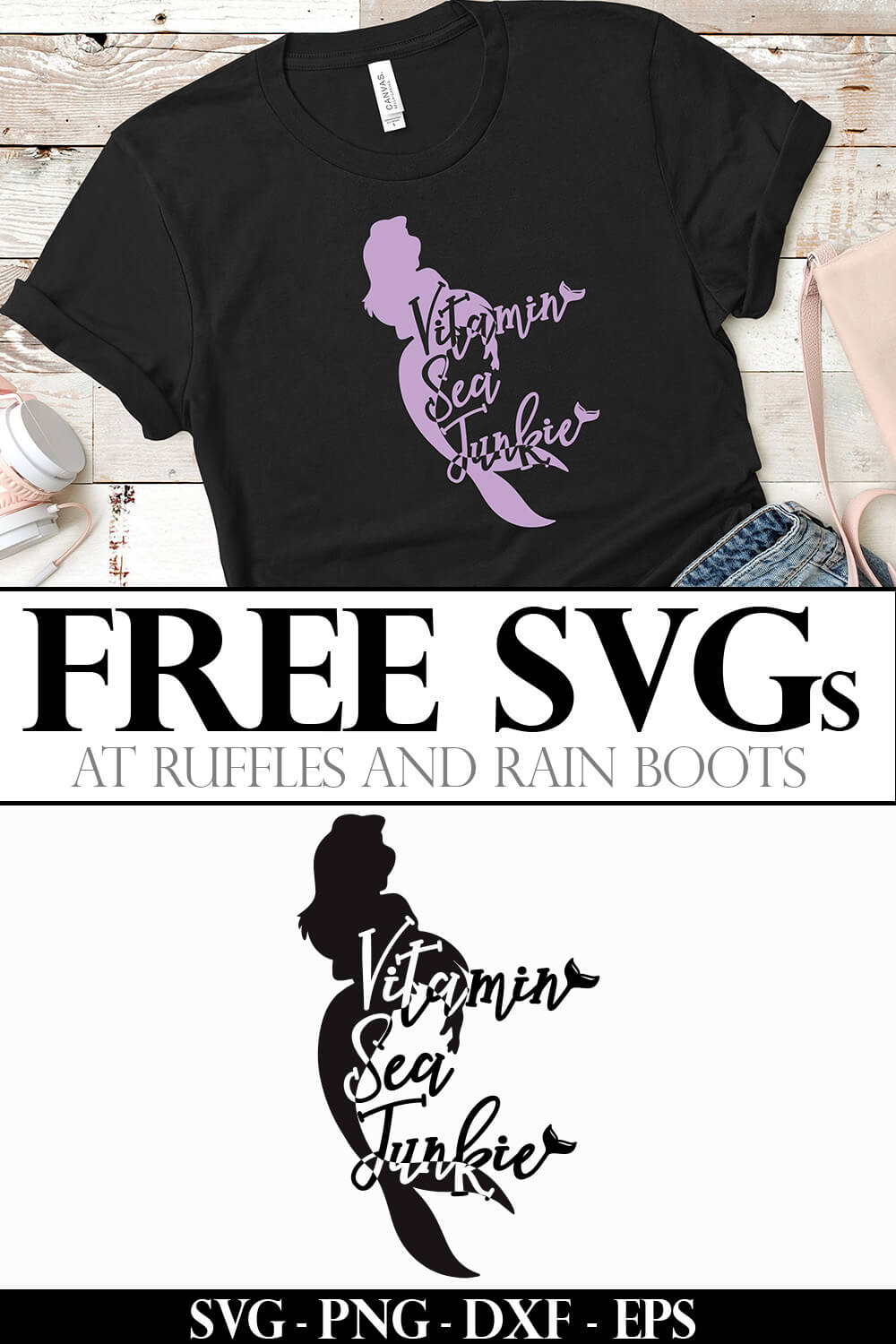 photo collage of vitamin sea junkie on a tshirt with text which reads free svgs