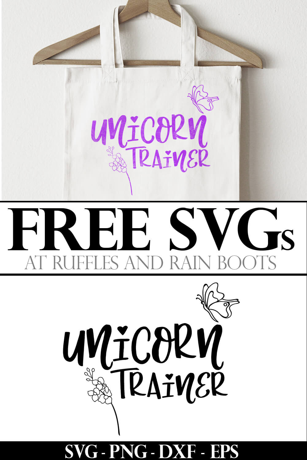 photo collage of unicorn trainer free unicorn svg on a beach bag with text which reads free svgs
