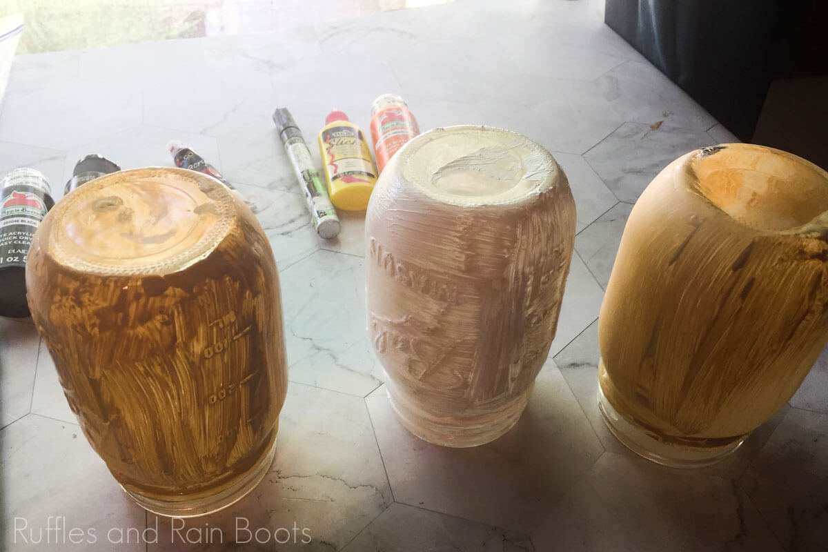 how to make harry potter mason jar school supply organizers step one painting the jars